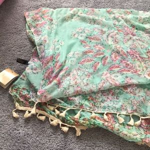 Floral blue/green light weight scarf with tassel